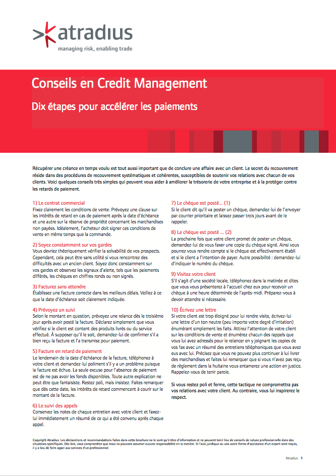 Conseils en Credit Management - 10 étapes pour accélérer les paiements