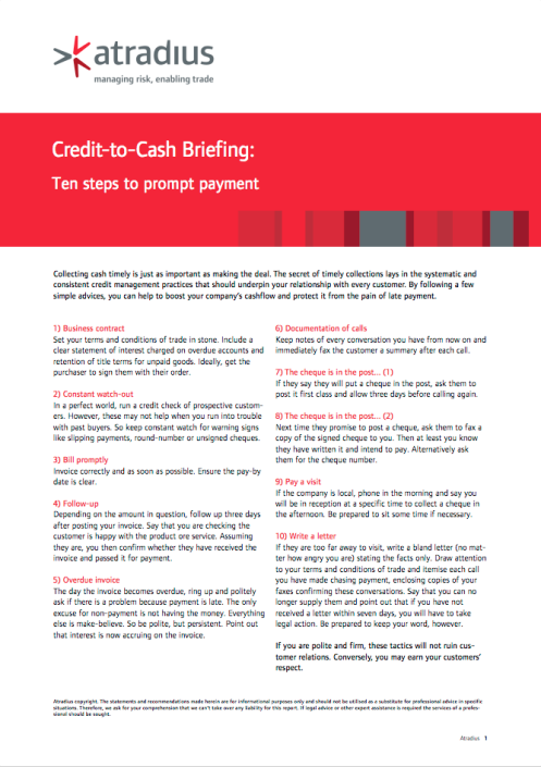Credit-to-Cash Briefing - Ten steps to prompt payment