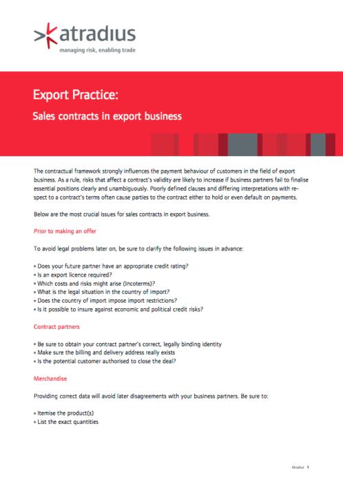 Export Practice - Sales contracts in export business