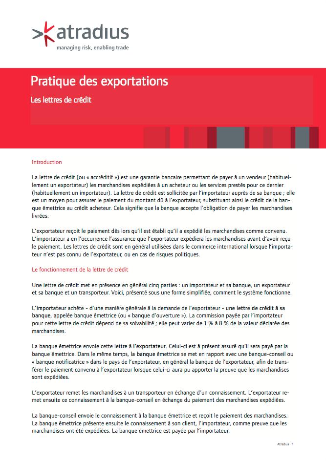 Pratique des exportations - Les lettres de crédit