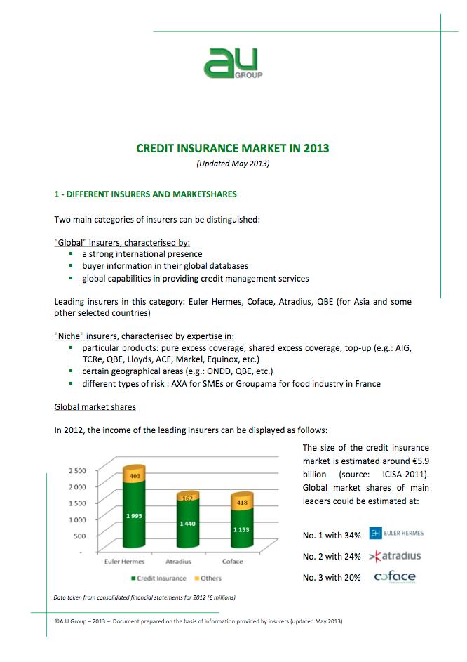 Credit Insurance Market in 2013