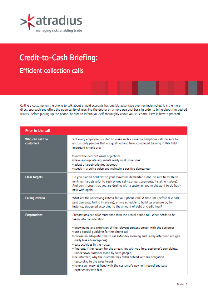 Credit-to-Cash Briefing - Efficient collection calls