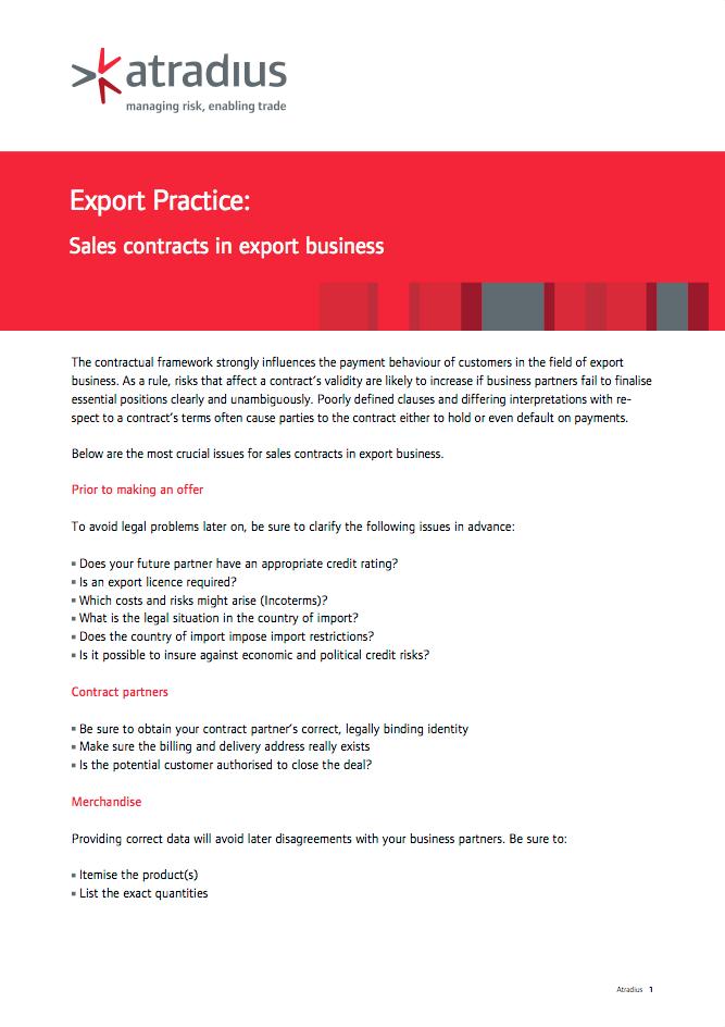 Export Practice : Sales contracts in export business
