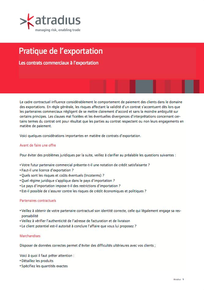 Pratique de l'exportation. Les contrats commerciaux à l'exportation
