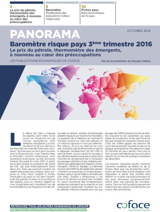 Baromètre risque pays 3ème trimestre 2016