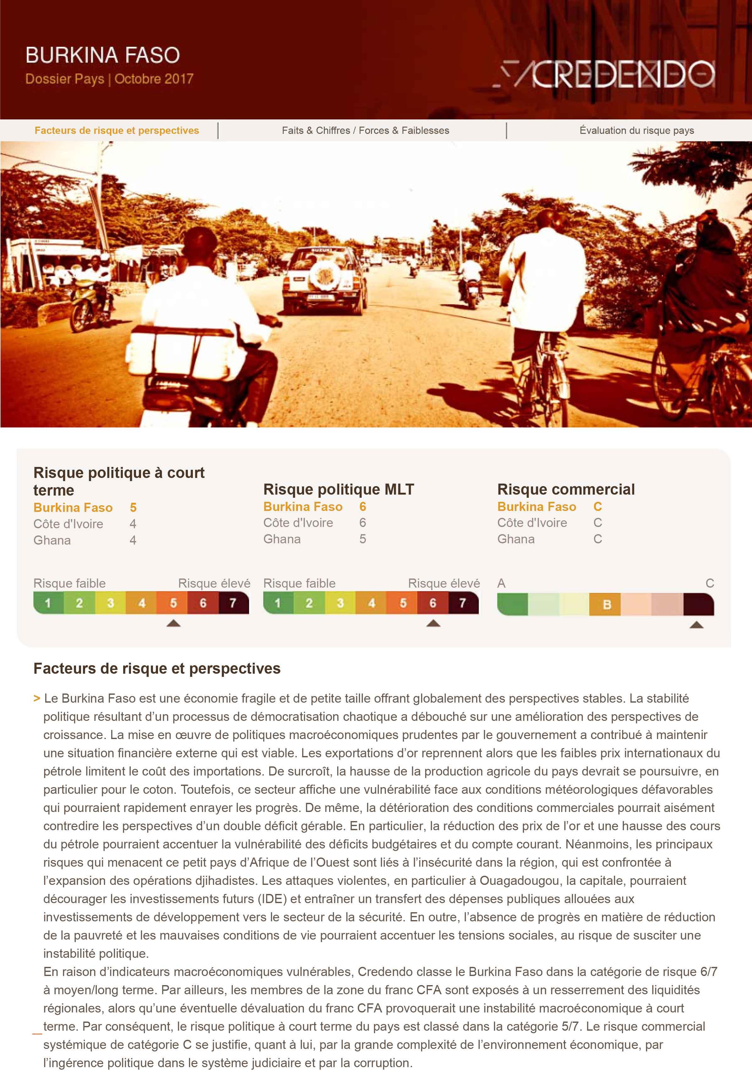 Dossier Pays : Burkina Faso – Octobre 2017