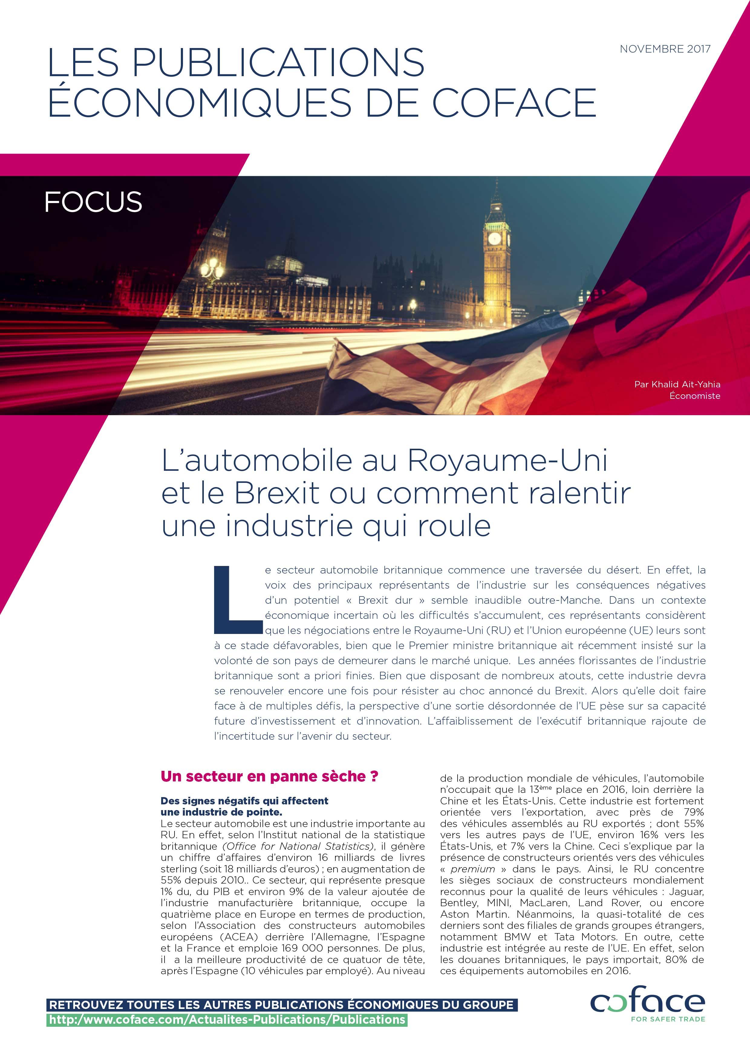 L'automobile au Royaume-Uni et le Brexit ou comment ralentir une industrie qui roule