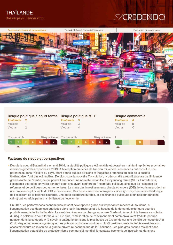 Dossier Pays : Thaïlande – Janvier 2018