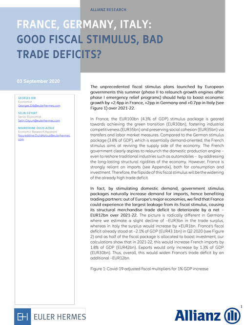France, Germany, Italy: good fiscal stimulus, bad trade deficits?