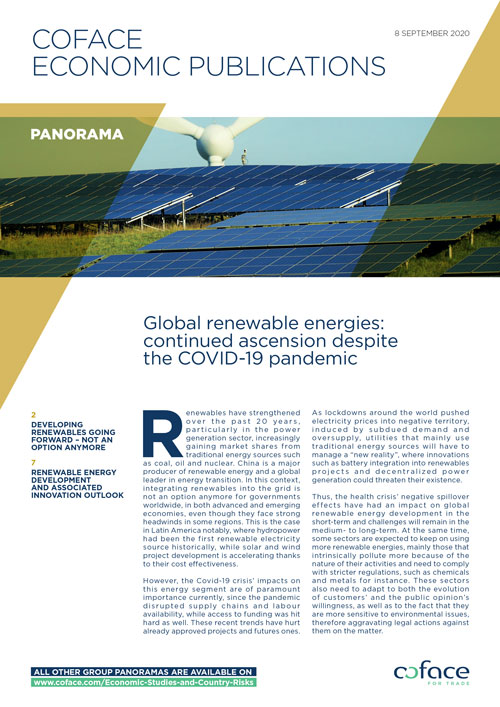 Global renewable energies: continued ascension despite theCOVID-19 pandemic
